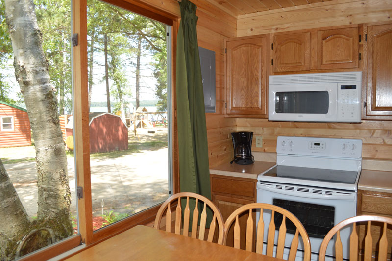 red pine cabin kitchen